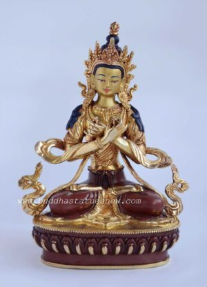 "Partly Gold Gilded 9"" Vajradhara Buddha Statues - Front"