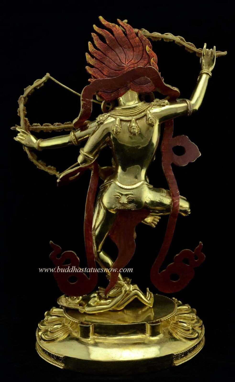 "Gold Gilded 15.75"" Dancing Kurukulla Statue (Red Tara) - Without Frame"