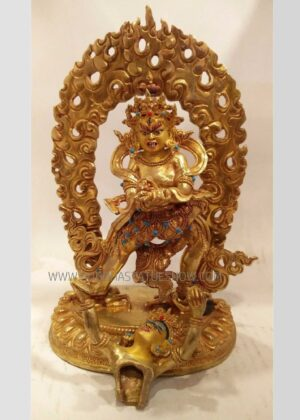 Fully Gold Plated 25cm Chakrasamvara Statue w/Consort (Handmade) - Front