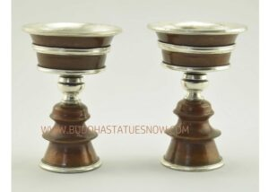 "4.25"" Tibetan Butter Lamps Set Antiquated Copper w/Silver Plating - Gallery"