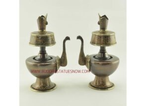 "9"" Tibetan Bhumpa Set Hand Carved Oxidized Copper w/Brass Rings, Stones - Gallery"