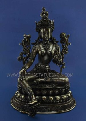 """Oxidized Copper 15.5"""" Green Tara Statue Fine Hand Engravings - Front"""