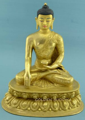 """Fully Gold Gilded 11.5"""" Shakyamuni Statue, Beautiful Hand Carved Engravings - Gallery"""