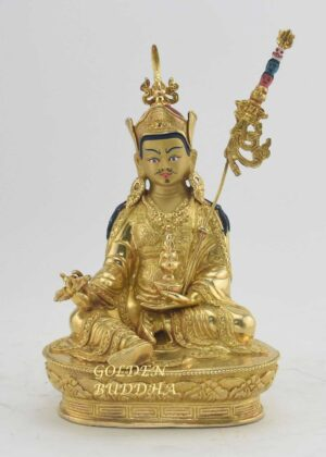 "Fully Gold Gilded 9"" Nepali Guru Rinpoche Statue, Beautiful Handmade - Gallery"