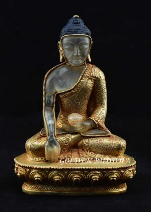 "Fully Gold Plated 5.75"" Tomba Shakyamuni Statue, Hand Carved Crystal - Gallery"