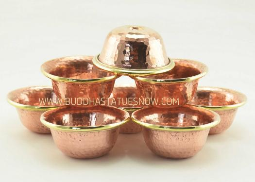 "3"" Offering Bowls Set Copper Alloy Brass Rings (Handmade in Nepal) - Gallery"