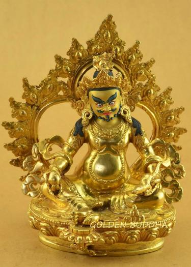 "Fully Gold Gilded 7.25"" Yellow Dzambhala Statue Fine Detail, 24k Gold - Gallery"