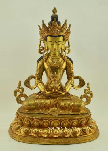 "Fully Gold Gilded 19"" Amitayus Statue, Hand Face Painted - Gallery"