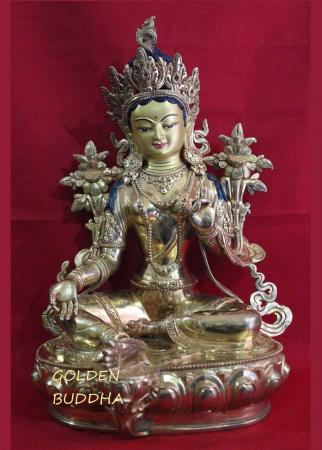 """Fully Gold Gilded 12"""" Jetsun Dolma Statue, Hand Face Painted, 24K Gold Finish - Gallery"""