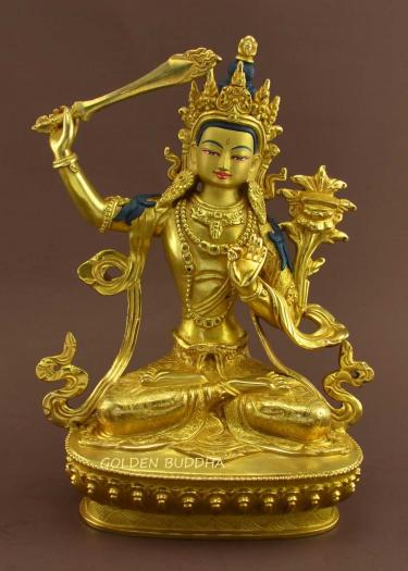"Fully Gold Gilded 9"" Jampalyang Statue, Beautiful Engravings, Fire Gilded 24K Gold - Gallery"