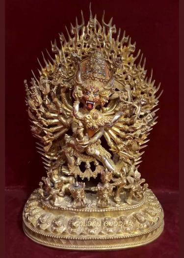"Fully Gold Gilded 14.5"" Megh Sambara Statue, Beautiful Hand Carving, Fine Detail - Gallery"