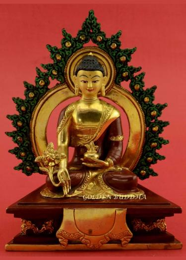 "Gold Gilded 7"" Framed Medicine Buddha Statue, Fire Gilded 24k Gold Finish, Hand Face Painted - Gallery"