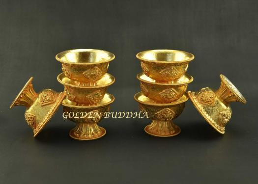 "3.25"" Set of Eight Tibetan Offering Bowls, Beautiful Hand Engravings, Fully Gold Plated - Gallery"