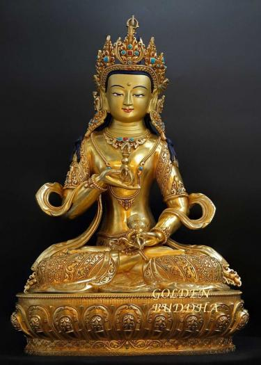 Fully Gold Gilded 45cm Masterpiece Vajrasattva Statue, Fire Gilded, Embedded Stones - Gallery