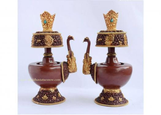"9"" Tibetan Bhumpa Set (Oxidized Copper, Gold Plated) - Side"