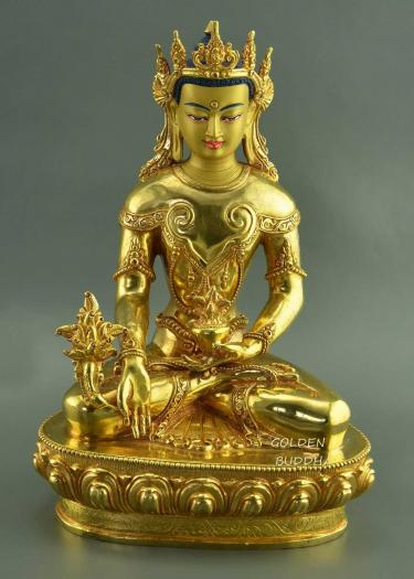 "Fully Gold Gilded 10.25"" Crowned Medicine Buddha Statue - Gallery"