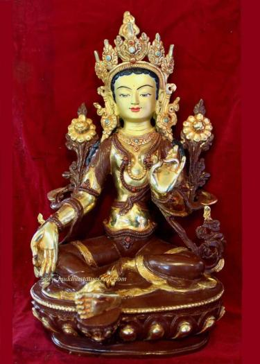 """Partly Gold Gilded 8"""" Dolma Statue, Hand Painted Face - Front"""