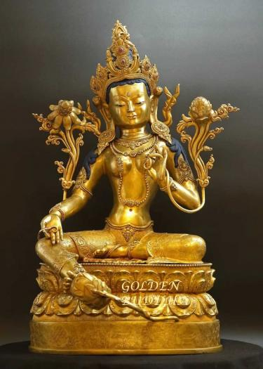 Fully Gold Gilded 56.5cm Masterpiece Dolma Statue, Antiquated Finish, Turquoise, Red Coral - Gallery