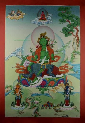 "Green Tara Tibetan Thangka Hand Painted 24k Gold Detailing 33"" x 23"" - Full Front"