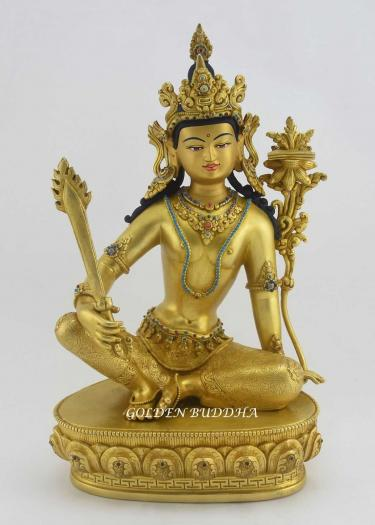 "Fully Gold Gilded 13"" Manjushri Buddha Statue, Beautiful Engravings, Embedded Stones - Gallery"